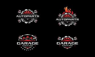 Auto repair service logo. Gear and pistons vector