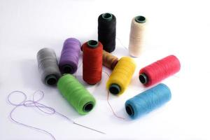 Yarn Textile,Spool of colorful clothes sewing thread photo
