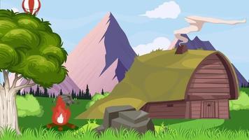 la cabaña en la llanura verde y llama de fuego video
