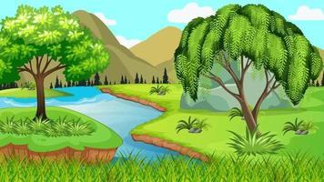 el río ondulado entre montañas y llanura video