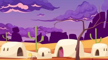 Desert Landscape And Houses In A Windy Day video