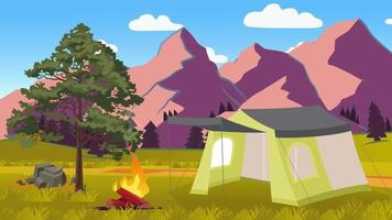 Summer Camp In The Green Plain Near The Tree video