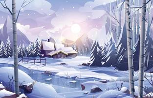 Village by The Frozen River in Winter Scenery vector