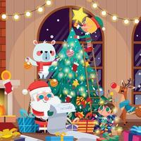 Christmas Preparation with Decorating Tree Concept vector