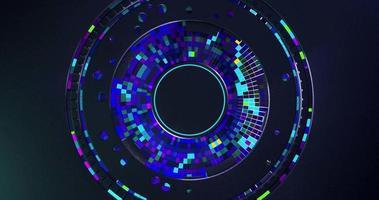 les anneaux tournant à l'intérieur des cellules carrées concentriques changent de couleur au hasard video
