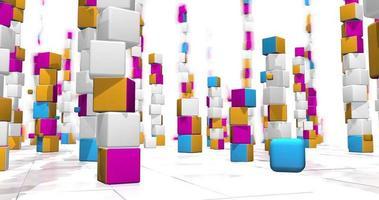 la caméra se déplace entre les tours de cubes. animations 3D video
