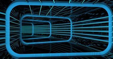 camara går genom en reflekterande rektangulär tunnel med struktur video