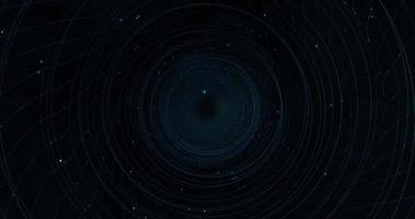 tunnel formé par des lignes circulaires de particules bleues sur fond noir video