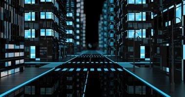Camera flies through middle of street of abstract city with buildings video