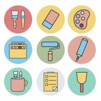 Icon Vector of Painting Tool Set Icon Part 2 - Color Mate Style