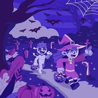 Kids Trick or Treating in Halloween Night vector