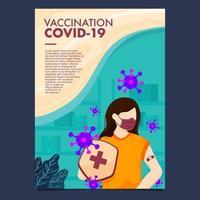 cartel de mujeres protegidas del covid-19 vector