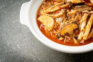 Stir-fried Spicy Mushroom with Tom Yum Soup photo