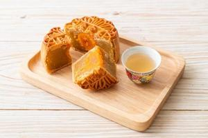 Chinese moon cake durian and egg yolk flavor photo