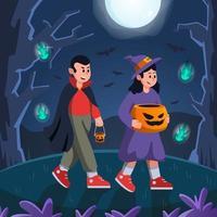 Kid Trick or Treating in Halloween Night vector