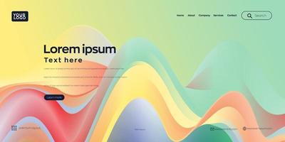 Landing page . web header background with colorful line wave vector