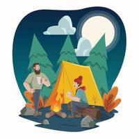Autumn Activity Camping vector