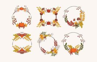 Autumn Floral Wreath vector