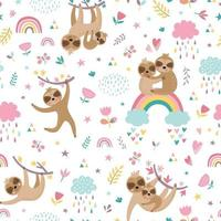Childish seamless pattern with cute sloths. vector