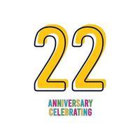 22 Years Anniversary Celebration Vector Template Design Illustration