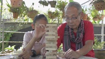abuelo mayor disfruta jugando torre de bloques de madera con su nieta video