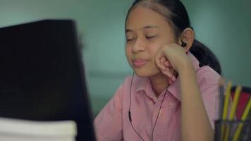 Girl talking on video call streaming via computer webcam