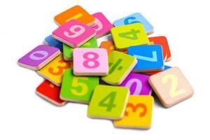 Math number on white background, education learning photo