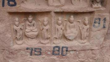 Buddhist grottoes sculpture in Bingling Temple Lanzhou Gansu, China photo