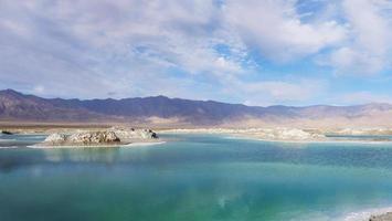 Beautiful nature landscape view of Emerald Salt Lake in Qinghai China photo