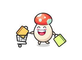 black Friday illustration with cute mushroom mascot vector