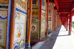 Prayer wheel in Arou Da Temple in Qinghai China. photo
