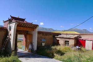 old small house in Arou Da Temple in Qinghai China. photo