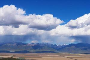 blue sky Qilian fields in Qinghai China photo