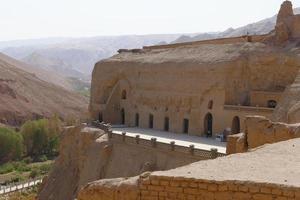 The Bezeklik Thousand Buddha Caves in Turpan Xinjiang Province China. photo