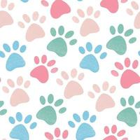 Cute bright seamless pattern with crayon pencil textured pet paw vector