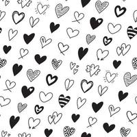 Seamless pattern with different hand drawn heart doodles icons vector