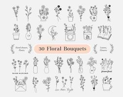 30 Floral Bouquets Bundle. flowers hand drawn, minimalist, wildflowers vector