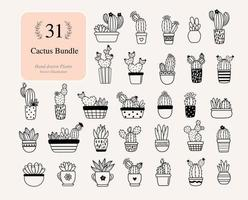 31 Cactus Bundle Plants. Cactus with flowers Files For Silhouette vector