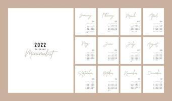 Calendar 2022 Trendy Minimalist Style. minimal calendar vector