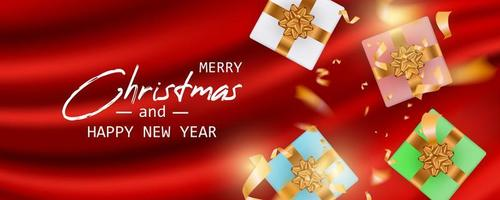 Marry Christmas and Happy New Year card vector
