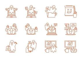 ghost spooky in office workspace line icon set vector