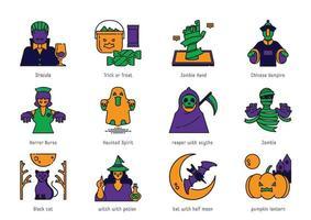 halloween color line icon set vector