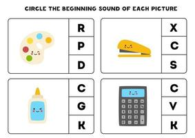Worksheet for kids. Find the beginning sound. School supplies. vector