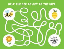 Colorful logical maze with cute bee. Logical game for kids. vector