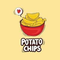 Colorful Hand Drawn Potato chips Illustration vector