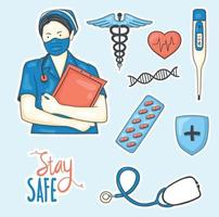 Colorful Hand drawn medical stickers collection vector