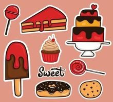Colorful Hand drawn Sweet Food stickers collection vector