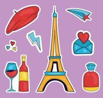 Colorful Hand drawn france element stickers collection vector