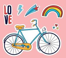 Colorful Hand drawn cute stickers collection vector