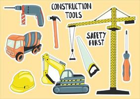 Colorful Hand Drawn Construction Tools Element vector